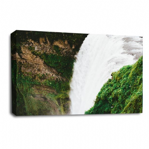 Waterfall Forest Canvas Wall Art Picture White Grey Black Print